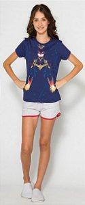Pijama Juvenil Capitã Marvel Azul Marinho Brilha Escuro -Coleção Mãe e Filha