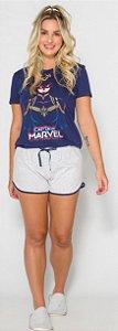 Pijama Adulto Capitã Marvel Azul Marinho Brilha Escuro - Coleção Mãe e Filha