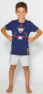 Pijama Infantil Capitão América Azul Brilha Escuro - Coleção Pai e Filho