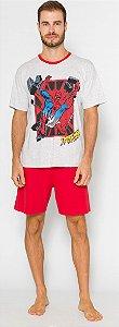 Pijama Adulto Homem Aranha Cinza e Vermelho - Coleção Pai e Filho