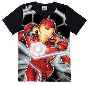 Camiseta Infantil Homem de Ferro Preta - Malwee