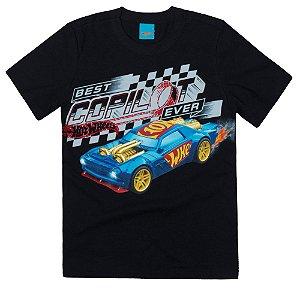 Camiseta Infantil Menino Hot Wheels Preta Coleção Pai e Filho - Malwee