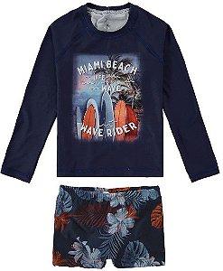 Conjunto Proteção UV Juvenil  Menino Surfista Azul Marinho - Malwee