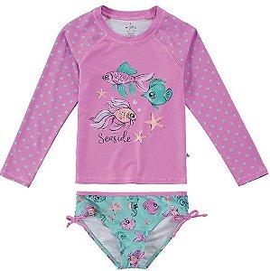 Conjunto Peixinhos Proteção UV Juvenil Rosa e Verde - Malwee