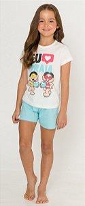 Pijama Infantil Menina Turma da Mônica - Coleção Mãe e Filha