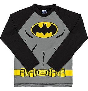 Camiseta Proteção UV Infantil Menino Batman Cinza - Marlan
