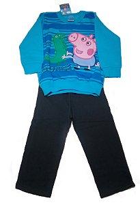 Conjunto de Blusa e Calça de Moleton do George - Peppa Pig  - Cinza e Azul - Malwee