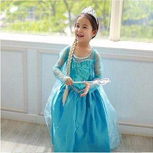 Fantasia Azul da Elsa  - Disney Frozen - Azul Céu