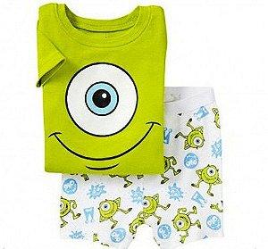 Pijama do Monstros S.A. - Verde e Branco