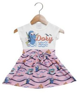 Vestido Infantil da Dory - Branco e Rosa - Disney by Tricae