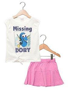 Conjunto de Blusa e Saia da Dory - Disney by Tricae - Rosa e Branco