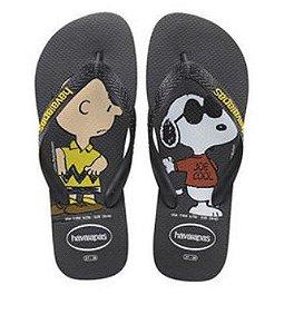 Chinelo Havaianas do Snoopy e Charlie Brown - Preto e Amarelo
