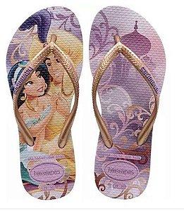 Chinelo Havaianas do Aladdin e Jasmine - Lilás e Dourado