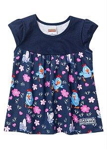 Vestido Galinha Pintadinha - Azul Marinho e Rosa - Brandili