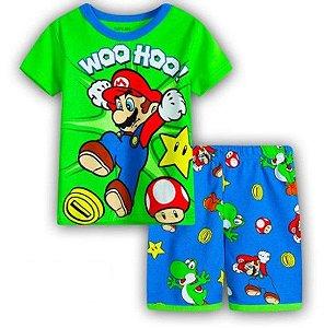 Pijama do Mário Bros - Verde e Azul