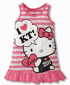 Vestido da Hello Kitty - Listrado Rosa