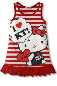 Vestido da Hello Kitty - Listrado Vermelho