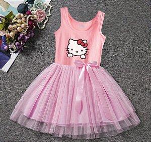 Vestido da Hello Kitty com Tule Rosa