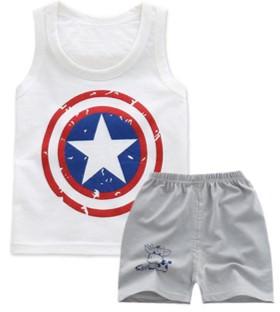 Pijama do Capitão América - Branco e Cinza