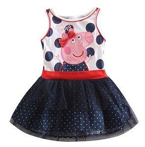 Vestido da Peppa Pig - Estampado de Bolinhas
