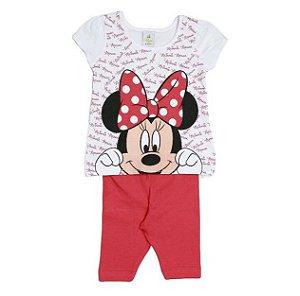 Conjunto de Blusa Minnie e Legging - Branco e Vermelho - Brandili Baby