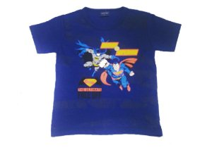 Camiseta do Superman e Batman - Azul Marinho
