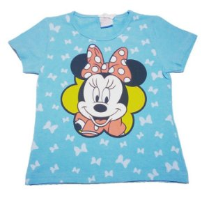 Blusa (Baby Look)  Minnie - Azul