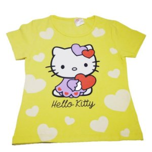Camiseta (Baby Look)  Hello Kitty - Amarela