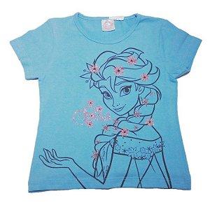 Blusa (Baby Look) da Elsa - Frozen - Azul