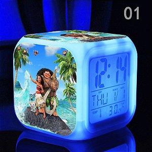 Relógio Despertador da Moana com Iluminação em Led