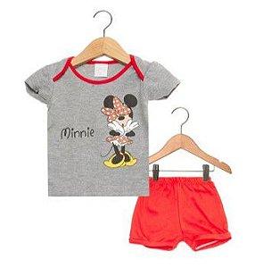 Conjunto de Blusa e Short da Minnie - Disney by Tricae- Cinza e Vermelho