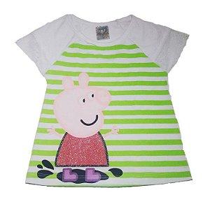 Blusa da Peppa Pig com Renda - Branca e Verde