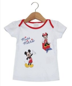 Blusa Bebê Menina Minnie e Mickey Branca - Disney by Tricae