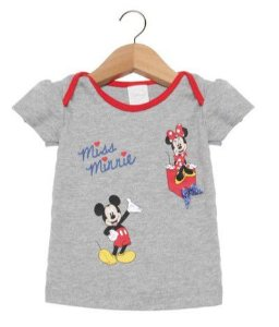 Blusa Baby da Minnie e Mickey - Cinza