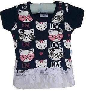 Blusa Baby Hello Kitty - Azul Marinho