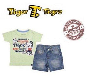 Conjunto Short e Camiseta Tigor - Azul e Verde