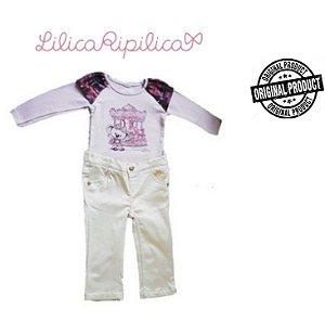 Conjunto de Blusa e Calça - Lilica Ripilica Baby - Lilás e Off White