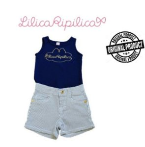 Conjunto de Regata e Short -  Lilica Ripilica Baby - Azul e Branco