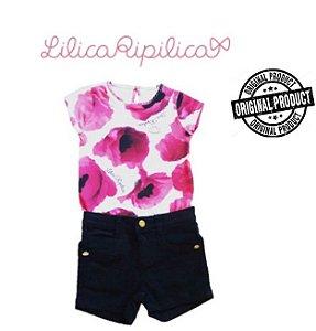Conjunto de Blusa e short - Lilica Ripilica Baby - Preto e Floral