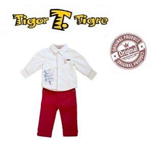 Conjunto Camisa e Calça - Tigor Baby - Off White e Vermelho