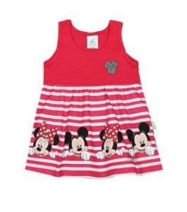 Vestido Minnie Listrado - Pink e Branco - Brandili