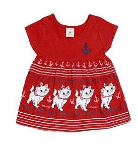 Vestido Bebê Bordado Gatinha Marie - Vermelho - Brandili