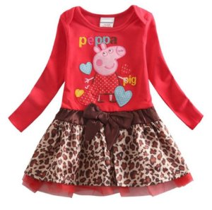 Vestido Peppa Pig - Cetim Tigrado - Vermelho e Marrom