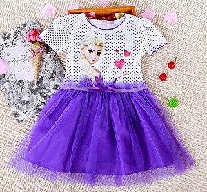 Vestido Infantil Elsa (Frozen) - Tule Lilás