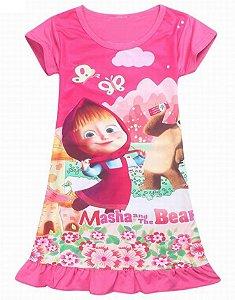 Vestido Infantil Masha e Urso - Rosa