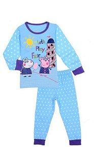 Pijama da Peppa Pig e Susy  - Azul e Branco