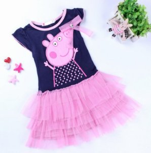 Vestido Peppa Pig - Manga Curta com Tule