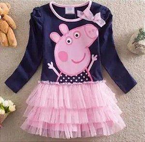 Vestido Infantil Peppa Pig - Manga Longa e Tule