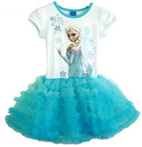 Vestido Bebê Elsa (Frozen) - Tule Azul
