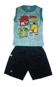 Conjunto Bemuda e Regata - Angry Birds - Preto e Verde